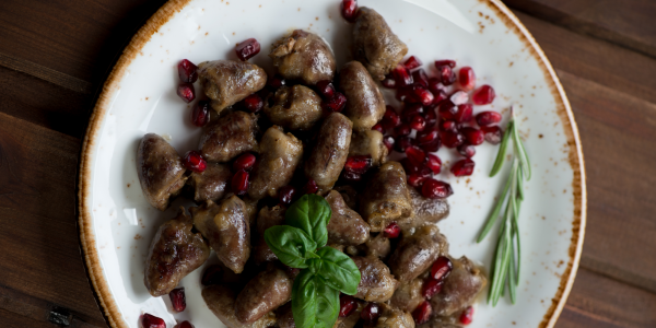 Chicken hearts boiled