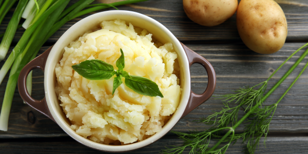 Homemade mashed potatoes cooked