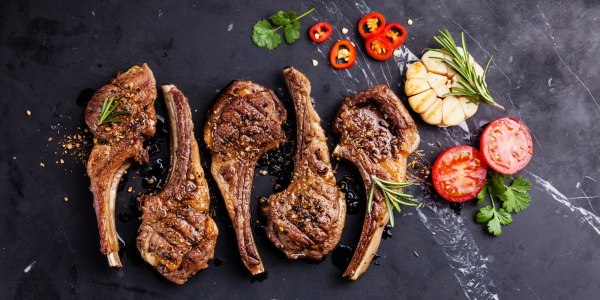 Lamb ribs cooked