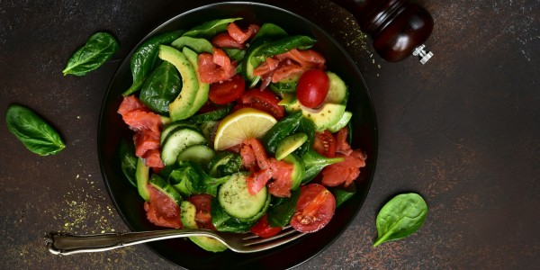 Baby spinach, cherry tomatoes, avocado and cucumbers