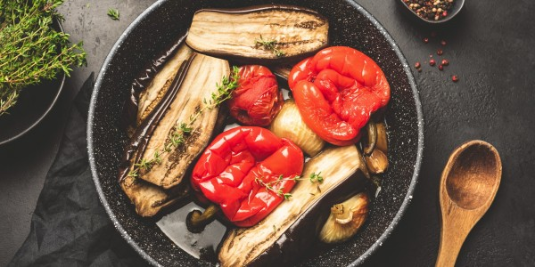 Roasted peppers, baked eggplant, tomatoes, red onion and parsley