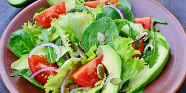 Tomatoes, avocados, arugula and baby spinach