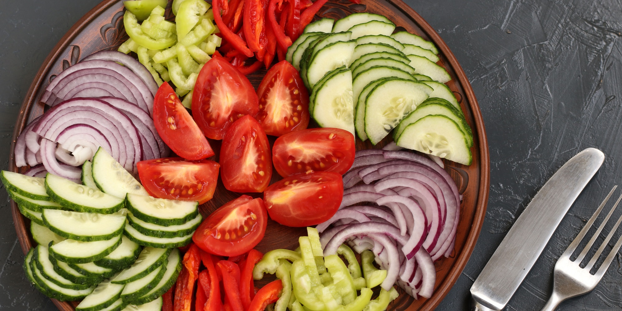 Tomatoes, cucumbers, onion and green pepper