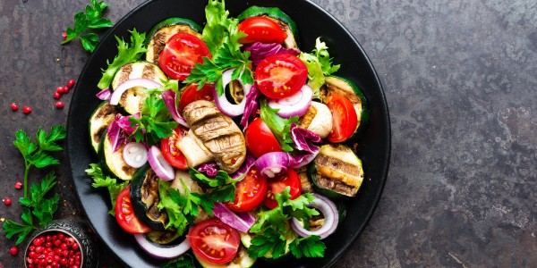 Grilled eggplant, grilled mushrooms, cherry tomatoes, onion and parsley