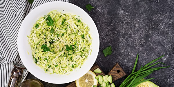 Cabbage, cucumbers, green onion and parsley