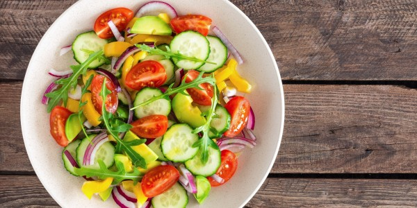 Tomatoes, cucumbers, bell pepper, red onion, avocado and arugula