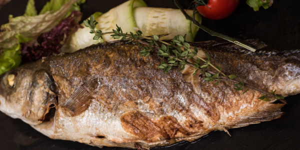 Sea bass grilled